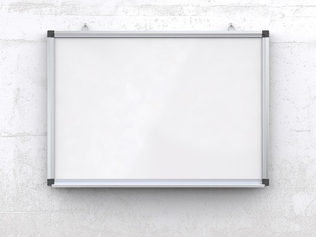 Whiteboard on concrete wall.. Blank Whiteboard on rough white concrete wall. Scratched surface, blank for copy space. 3d render,