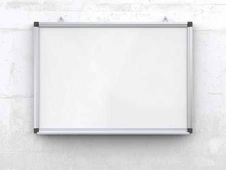 Whiteboard op betonnen muur .. Blanco whiteboard op ruwe witte betonnen muur. Gekrast oppervlak, leeg voor kopie ruimte. 3d geef terug,