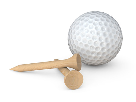 Golfbal en T-stukken. Klassieke witte Golfbal en 2 houten T-stukkenpinnen op witte achtergrond. 3D render.
