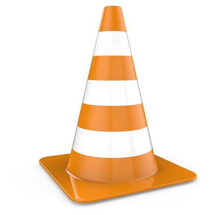 Verkeerskegel. Enkele verkeerskegel, oranje. 3D render. Stockfoto