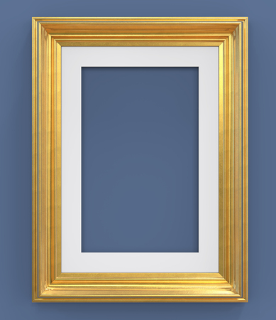 Gold Frame  3D render of Vintage Gold Frame with passe-partout on blue background. Blank for Copy Space.