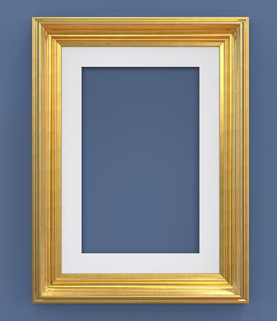 Gouden frame 3D render van vintage gouden frame met passe-partout op blauwe achtergrond. Leeg voor kopie ruimte.