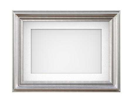 Getrennter silberner Rahmen. 3D übertragen vom silbernen Rahmen der Weinlese mit Passepartout auf blauem Hintergrund. Isoliert und leer für textfreiraum. Standard-Bild