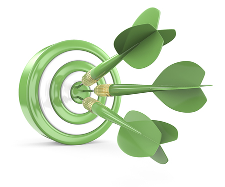 Eco Target. Green and white Dart Board with 3 geen dart arrows. 3D render. Stockfoto