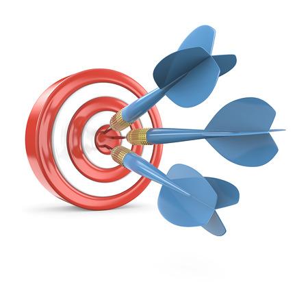Hitting Target. Red Dart Board with 3 blue dart arrows. 3D render.