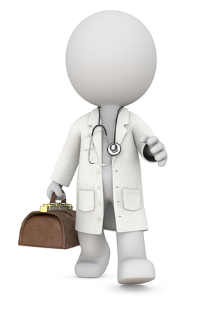 Doctor. Dude 3D character the Doctor walking and carrying vintage bag. Front view, 3d Render. Standard-Bild