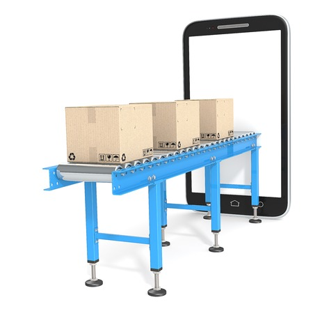 E-Commerce. Blue Conveyor with cardboard Boxes connected to Smartphone. 3d Render. Blank for Copy Space.
