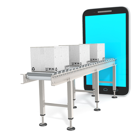 Logistics Applications.  Conveyor with white cardboard Boxes connected to Smartphone. 3d Render. Blue Screen, Blank for Copy Space.