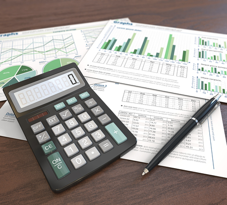 Office Workplace. 3d Illustration of Financial documents, graphs and pie charts on wooden background. Pen and Calculator. Depth of field. Green Theme.