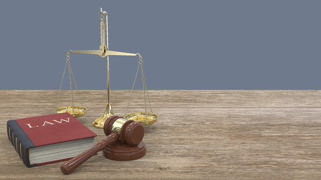 Office of Justice. Panoramic view of Gavel hammer on sound block, Law book and a Scale of justice. Wooden desk. 3D render.