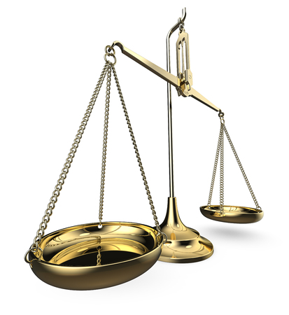 Scale of justice. Brass scale. Perspective view on white background. 3D render. Stockfoto