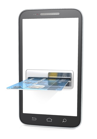 Smartphone ATM. Smartphone with Credit Card Slot, ATM. Blank for copy space. 3d render. Stockfoto