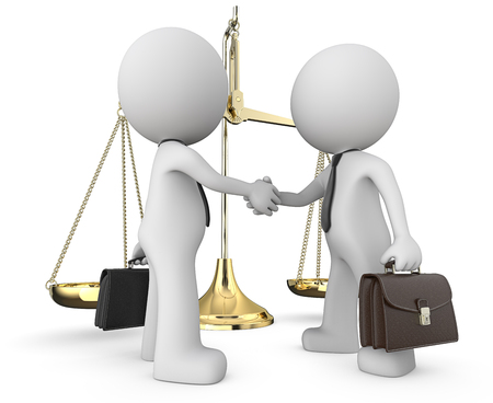 Win Win. Dude 3D characters Business people X 2. Handshake infront of the Scale of Justice. Tie and briefcase. 3D render.