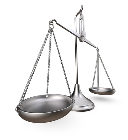 Scale of justice. Metal scale. Worn and rough metal. Perspective view on white background. 3D render. Stock Photo