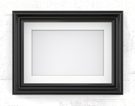 Black Picture Frame. 3D render of Vintage Black Frame with passe-partout on concrete wall. Blank for Copy Space. Stock Photo