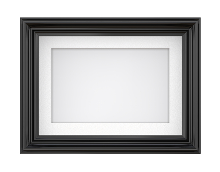 Isolated Black Picture Frame. 3D render of Vintage Black Frame with passe-partout. Blank for Copy Space. Isolated. Stock Photo