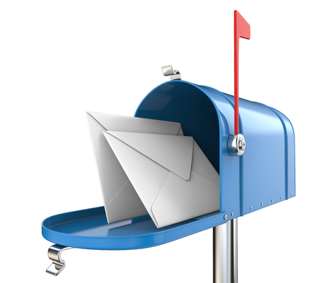 Mailbox and envelopes. Blue Mailbox, open with 2 envelopes. Isolated on white background. 3D render.