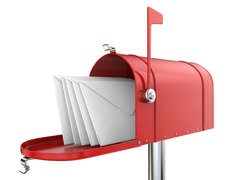Red Mailbox. Classic Mailbox, open with 5 envelopes. Red and isolated on white background. 3D render.