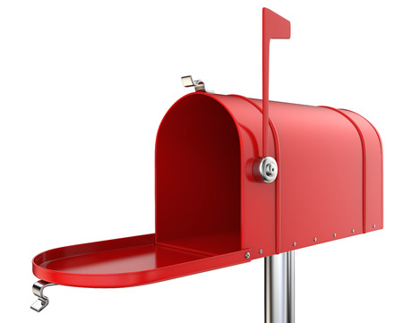 Red mailbox. Classic Mailbox, open and empty. Red and isolated on white background. 3D render. Imagens