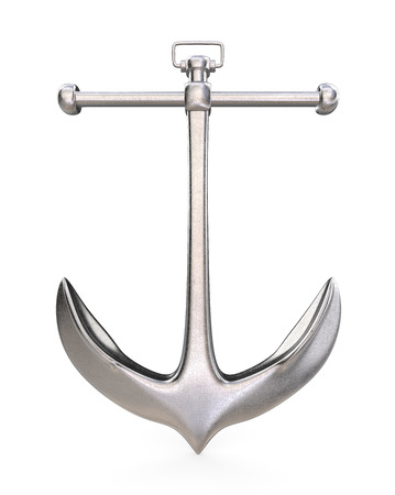 Steel Anchor. Vintage Anchor of rough steel on white background. Front view. 3D render. Imagens