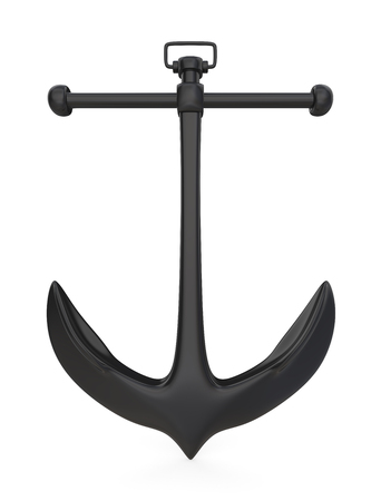 Black Anchor. Vintage Anchor of rough steel on white background. Front view. 3D render.