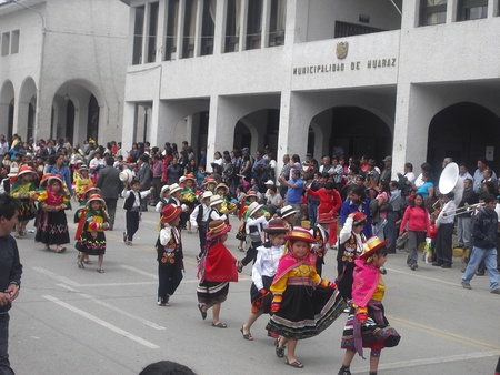 ancash: typical parade of children in the city of Huaraz Ancash Peru