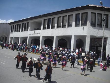 Children parading Huaraz Peru