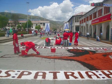 Carpet preparing for Holy Week procession Andean Huaraz Peru