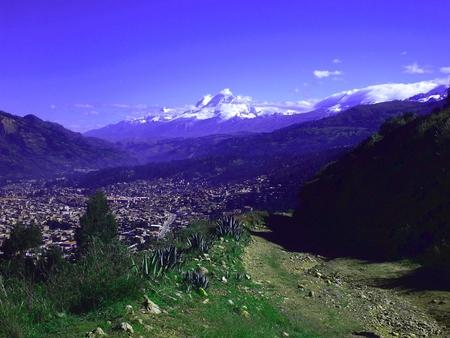 commanding view of the city of Huaraz PERU