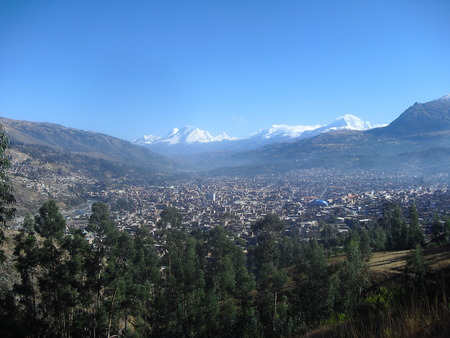 Huaraz Peru surrounded by snowy