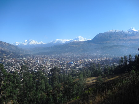 Huaraz Peru surrounded by snowy