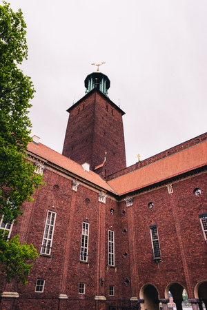 The beautiful and magnificent Stockholm City Hall. Home to the Blue Hall where the Nobel Prize ceremony takes place. In 1903 a architectural competition was announced and constructions started 1913. 写真素材
