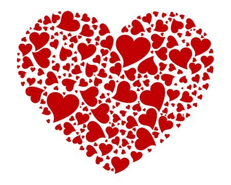 linee vettoriali: Grande cuore rosso fatta di piccoli cuori