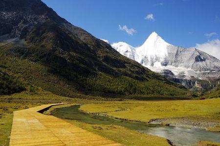 jokul: YangMaiYong Mountain(elevation of 5958m) Stock Photo