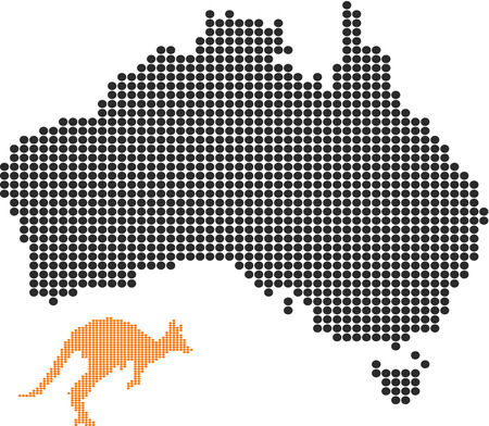 Australia map and the kangaroo-Pixel series (vector)