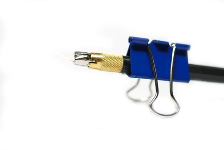 design knife and office  clip on white background photo