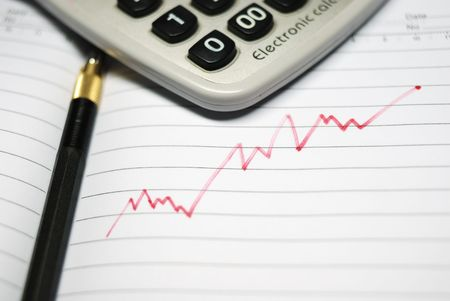 corporate greed: STOCK MARKET CHART, WITH PEN, CLOSEUP Stock Photo