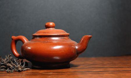 Oriental tea set and Green tea photo