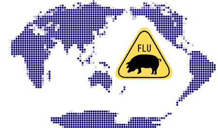 Swine Flu Sign with WORLD MAP Stock Vector - 4770286