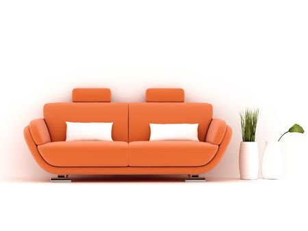 modern living room: orange sofa on white background