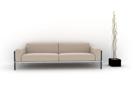 living room wall: sofa on white background