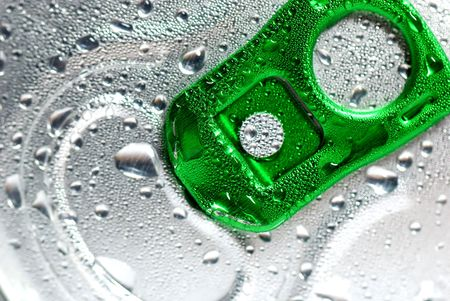 Close Up of a Soda Can with Pull Tab and Condensation photo