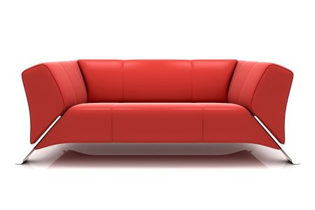 settee: Modern sofa on White Background Stock Photo