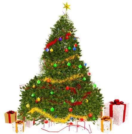 Christmas tree and Gift on White Background photo