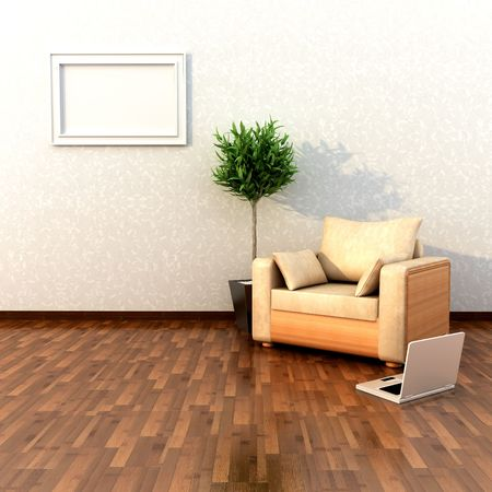 parquet floor: Interior Design Stock Photo