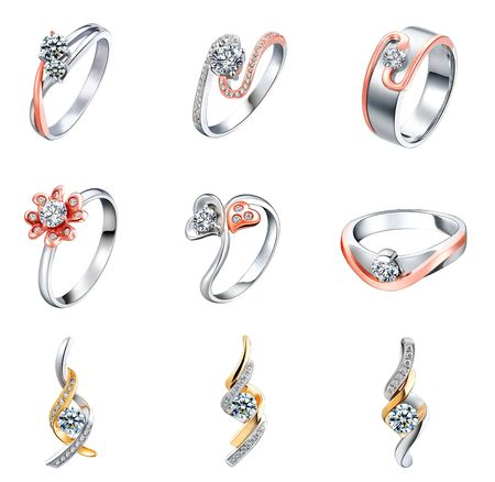 silver ring: Jewelry, 9 IN 1 Stock Photo