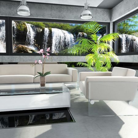 3dmax: Interior Design (the house near the waterfall)