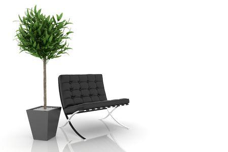 domestic room: modern sofa on white background Stock Photo