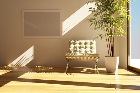 3dmax: modern drawing room Stock Photo
