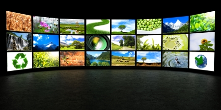 tv panel: Several lightbox with blank space,Photo show of nature  (I am the author of all images in the lightbox) Stock Photo
